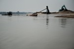 A Laotian sand mine operation on the banks of the Mekong River.