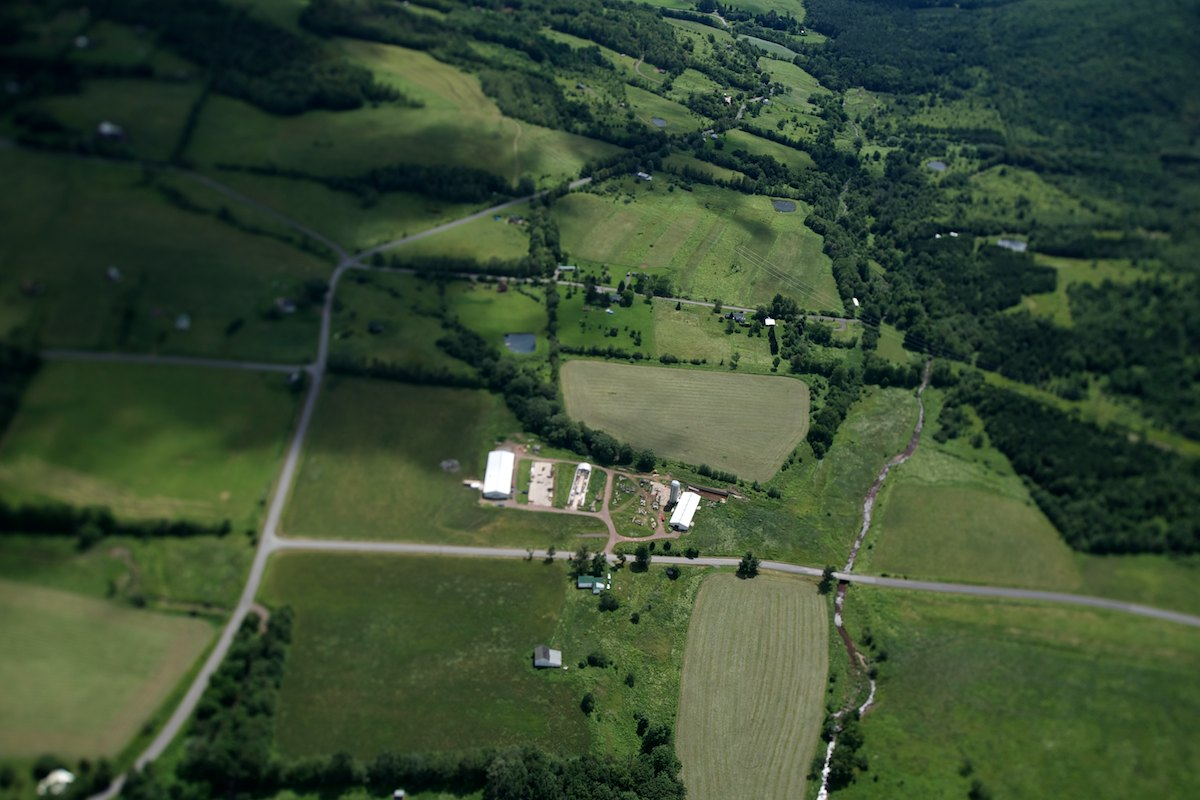 Patchwork farmland and the Jonwan Farm in the Schoharie Valley, Catskill Mountains.