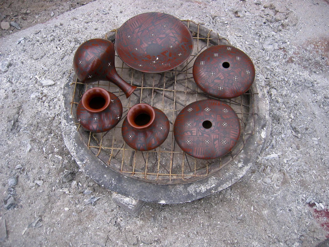 Freshly fired pots in Mata Ortiz