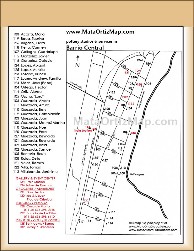 With this map of Barrio Central in the Mexican pottery village of Mata Ortiz you can find many ceramic studios including that of Juan Quezada.