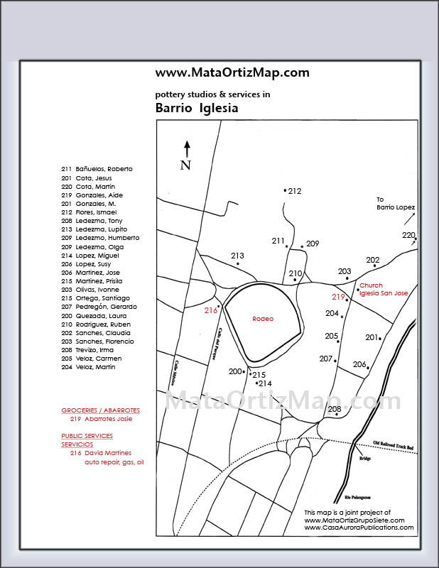 With this map of Barrio Inglesia in the Mexican pottery village of Mata Ortiz you can find many ceramic studios.