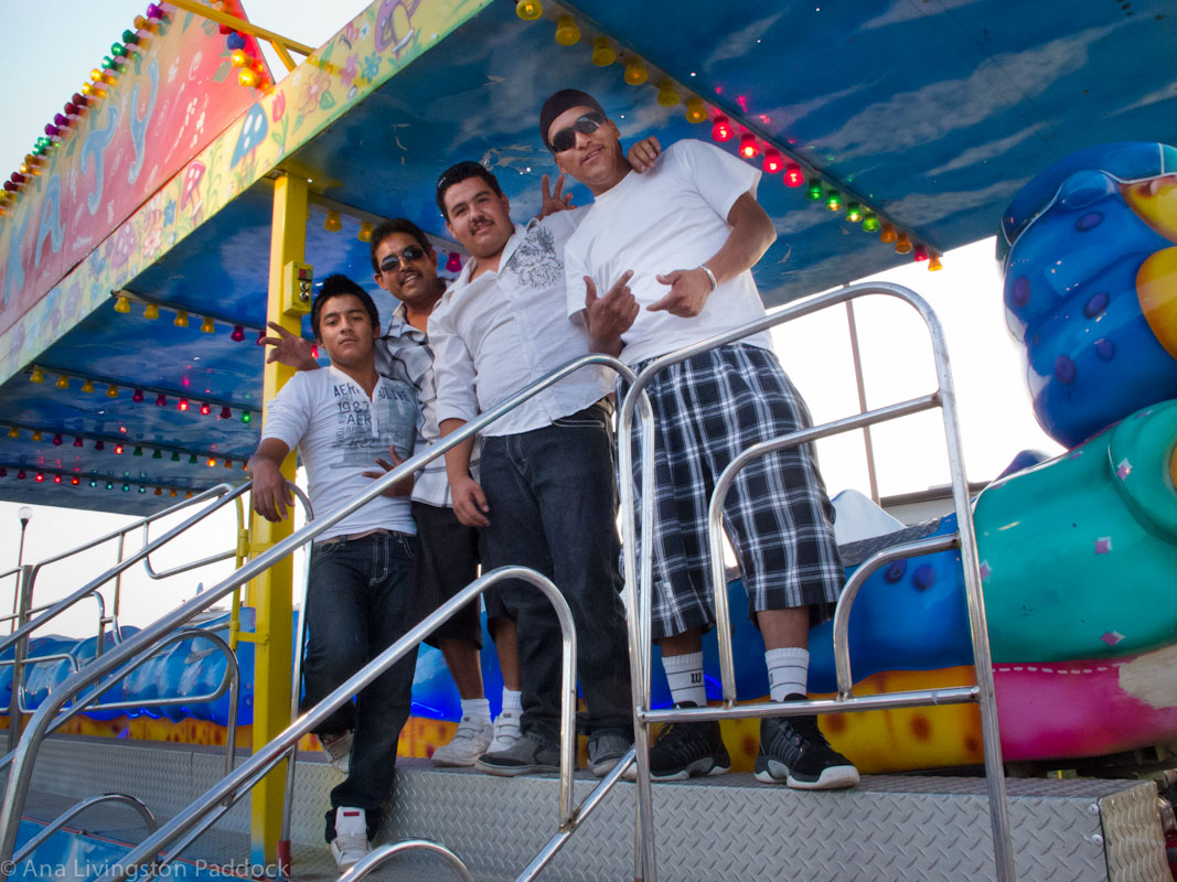 Four of the young men who run the carnival which came to Mata Ortiz in August. 2012