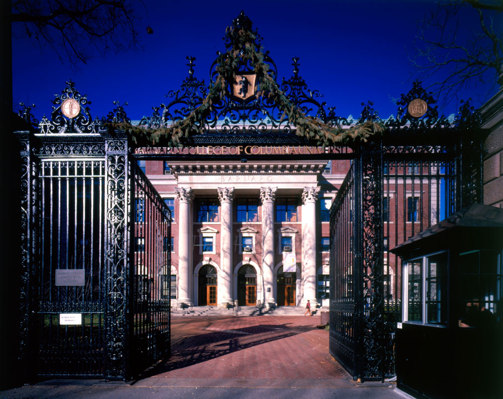 Restored Barnard Hall entry facade