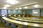 The Pietruski Auditorium, a multi-media lecture hall, has seating for 81 in seven concentric, terraced rows.
