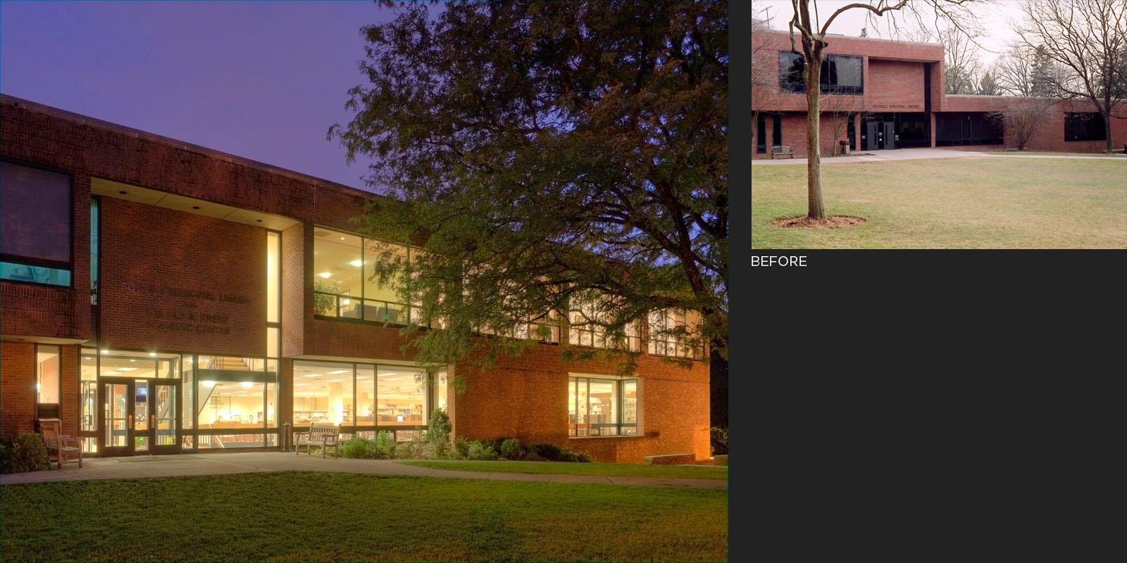 The Scheele Library and Krenz Academic Center after expansion (left); the Scheele Library before expansion (right).