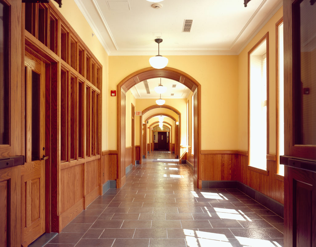 The new single-loaded corridor on the first floor looks out over the Arts Quadrangle.