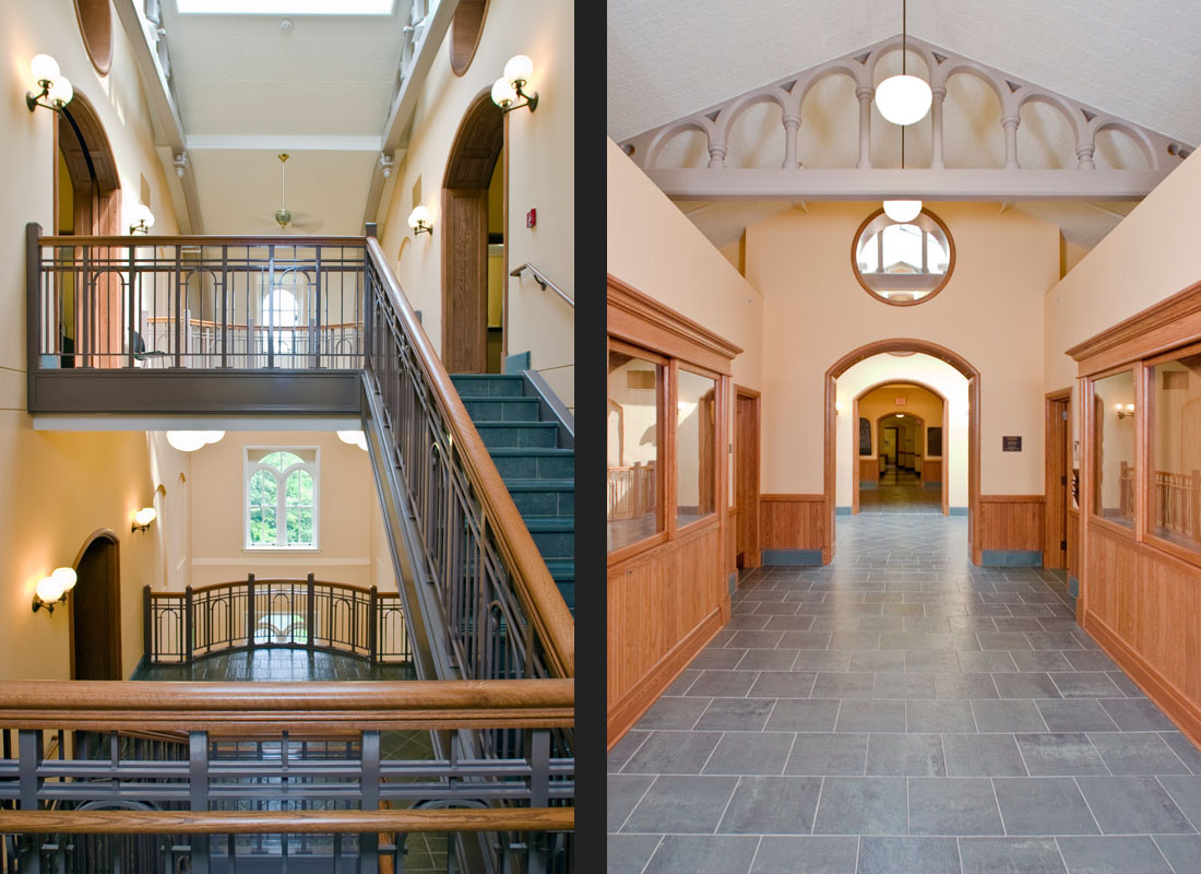 New central stair (left) and 4th floor corridor (right)