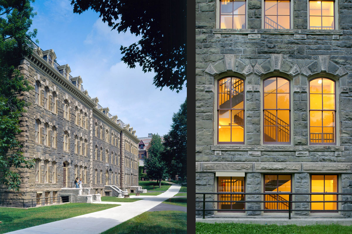 White Hall's restored facade as seen from the Arts Quadrangle