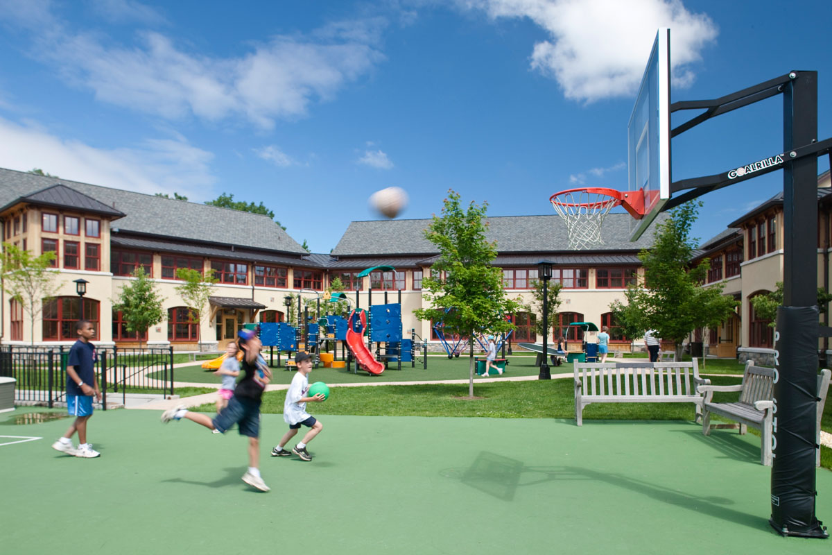 The south-facing central courtyard is a protected place for outdoor play year round