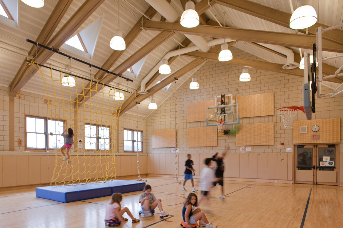 The multipurpose room serves as the school's gymnasium