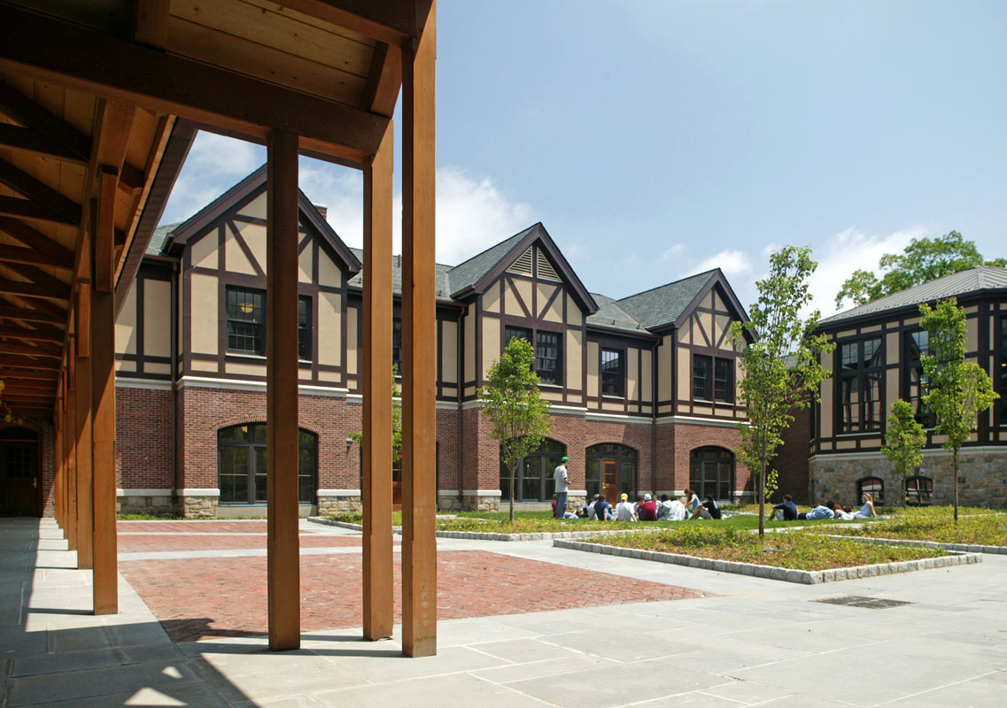 The new cloister quadrangle adjacent to the Science Center