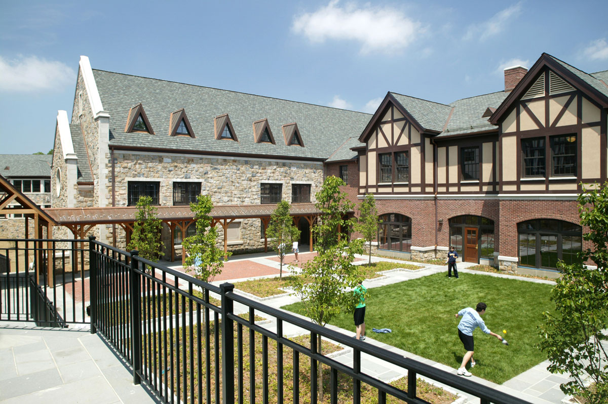 The new cloister courtyard is used for passive recreation