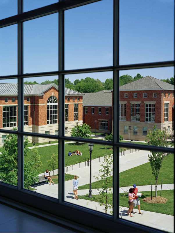 View from Jordan Hall, the new Upper School, to the transformed main quadrangle