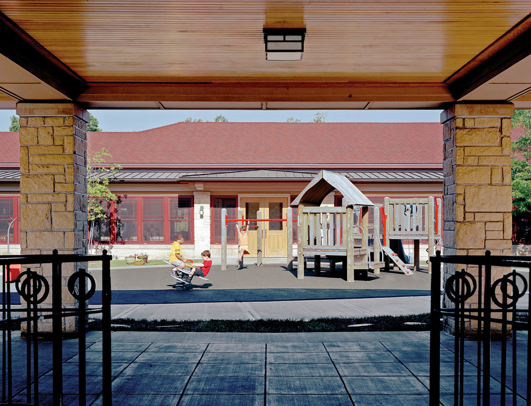 The Early Childhood Center surrounds a central play courtyard