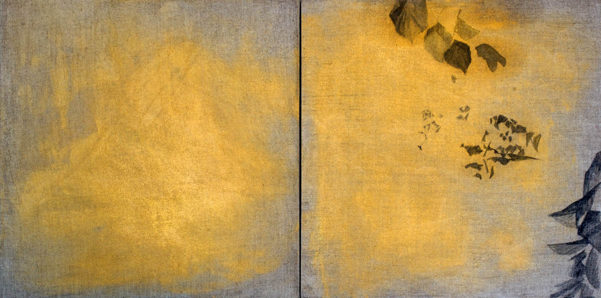 graphite, acrylic and gold mica on linen16 x 32in., 2010