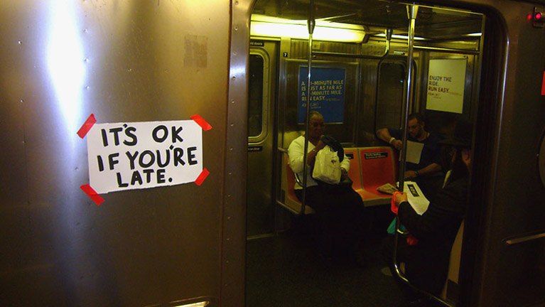 Signs with Steve Lambertacrylic on paperNYC Subway2007