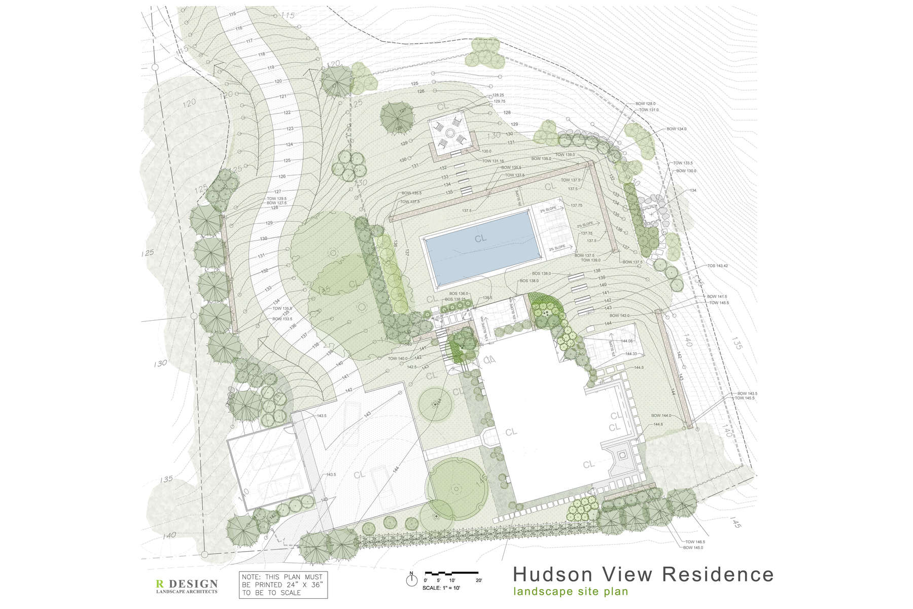 The new site plan showing a complete renovation of this Historic Hudson River property. This includes a new driveway, motor court, garage, pool area, walkways, garden rooms and dinning patios.