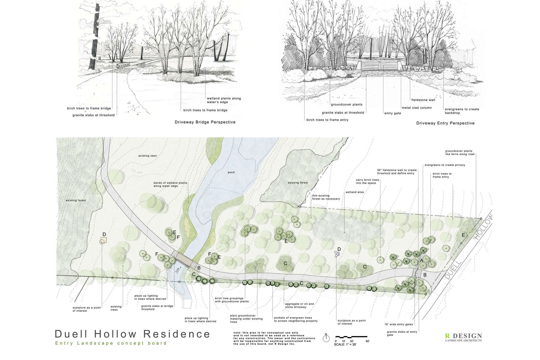 This site plan shows a new property entry sequence. This includes a new entry gate, stone walls, wetland plantings, updated bridge and tree plantings to provide privacy and restore the site's ecology.