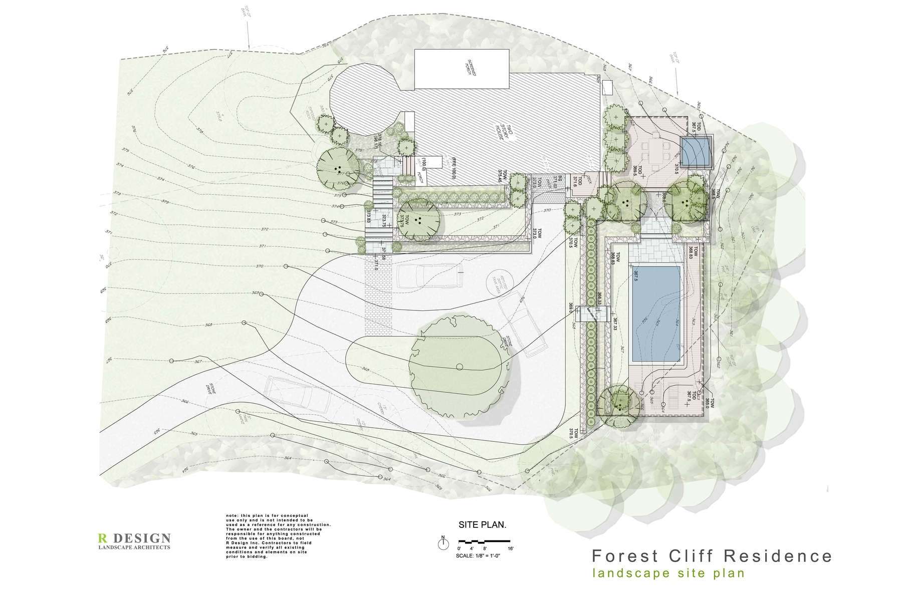 The site plan showing the pool area, upper dinning area, spa, new motor court, entry staircase and terraced walls to ground the house to the site.