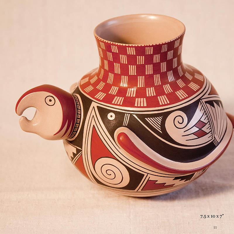 {quote}They are shy and humble people of few words and they are monastic in their devotion to producing this fine pottery, replicas of the ancient ceremonial vessels produced by Paquime artisans and used by their spiritual leaders centuries ago.{quote}