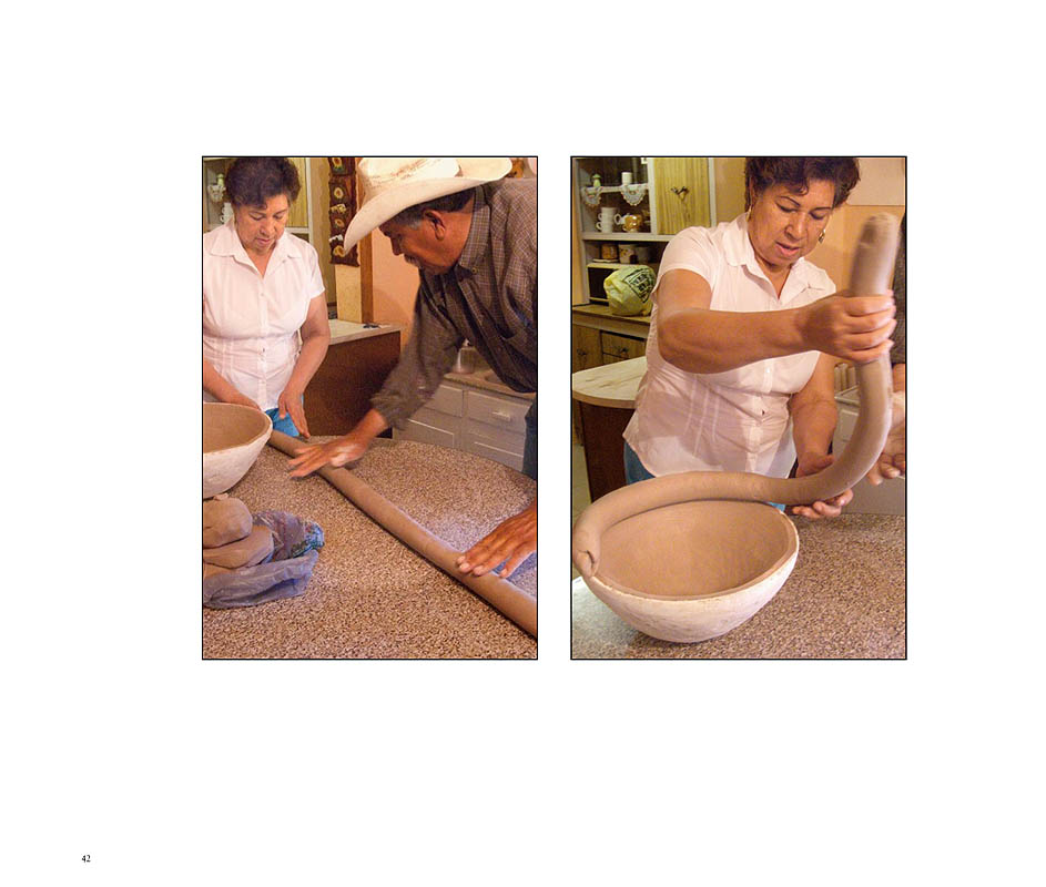 {quote}Once the clay is processed, Graciela forms it into a graceful pot.  A museum-quality piece, such as the one made and illustrated in this book, takes her five to six hours to hand build using a mold and coil technique. {quote}