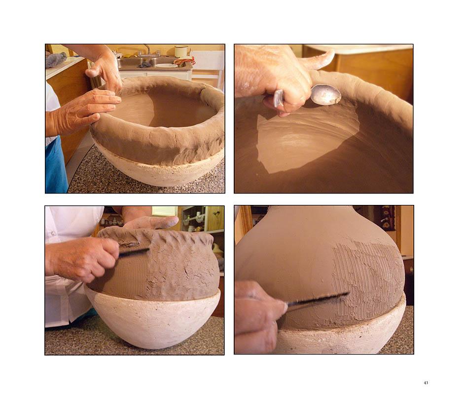 Graciela Gallegos making a clay coil pot