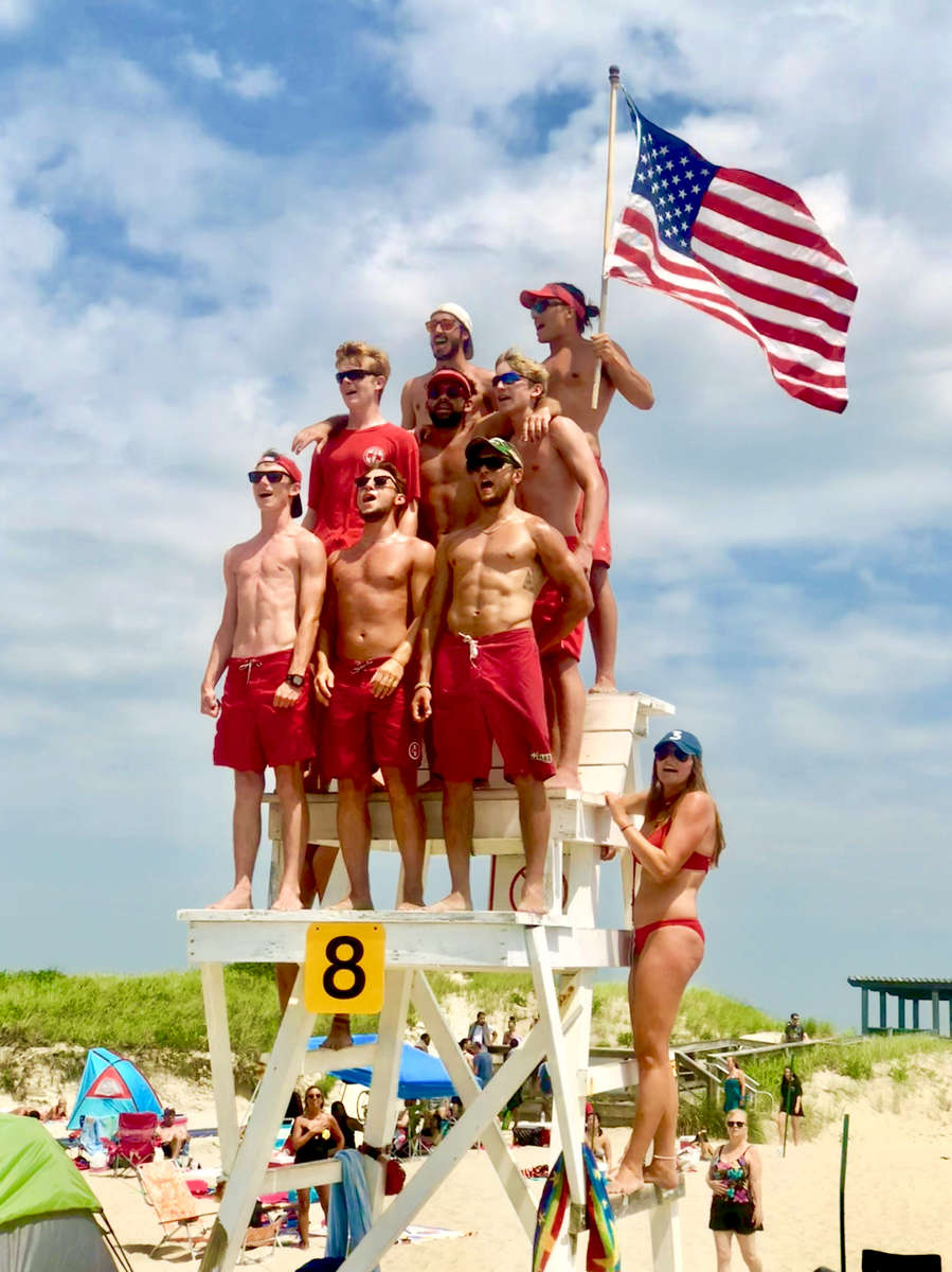 These lifeguards are singing The Star Spangled Banner on July 4th at Horseneck Beach in Westport, MA. An annual tradition on Independence Day.