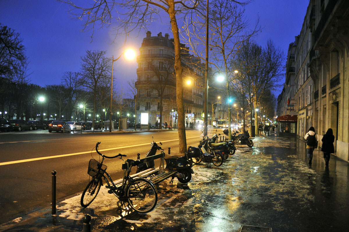 a deserted Paris, France steet at night