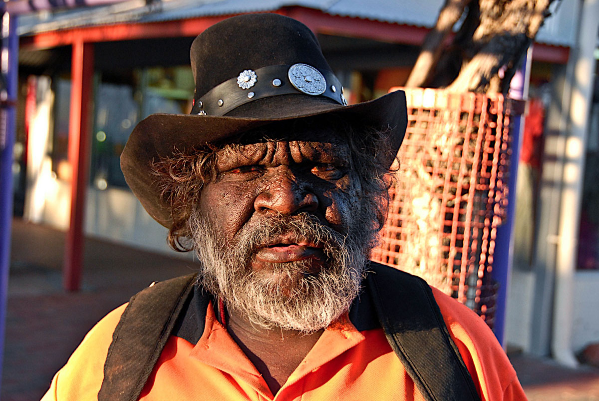 Portrait of Aborigine in Alice Springs, Australia