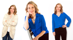 3 casual portraits showing a woman book author with a commercial white background.
