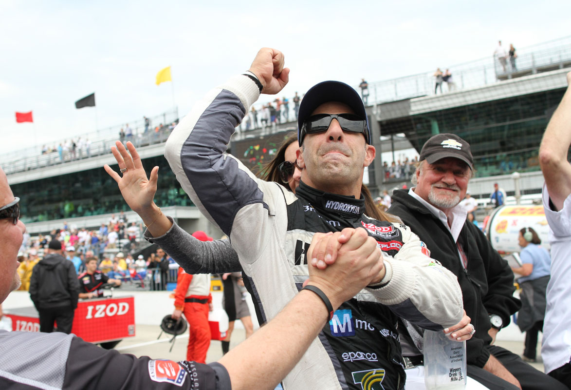 2013 Indy 500 winner Tony Kanaan celebrates his victory following the race at Indianapolis Motor Speedway in Indianapolis, Indiana.