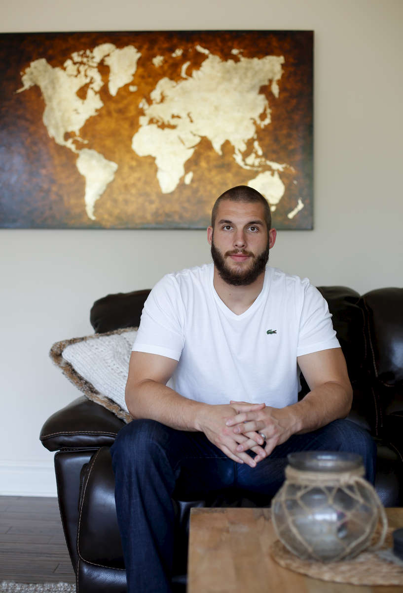 June 13, 2015: Indianapolis Colts Outside Linebacker Bjorn Werner at his home near Indianapolis, Indiana.