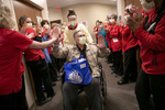 April 15, 2020. COVID Coverage. Patient Nicholas Xinopoulos gets a warm send off after being discharged from IU Health West Hospital Wednesday April 15, 2020. . At one point, much of his family, including his wife, son, and daughter were all in the hospital, most of them on ventilators. Nicholas was the last of his family to be discharged.