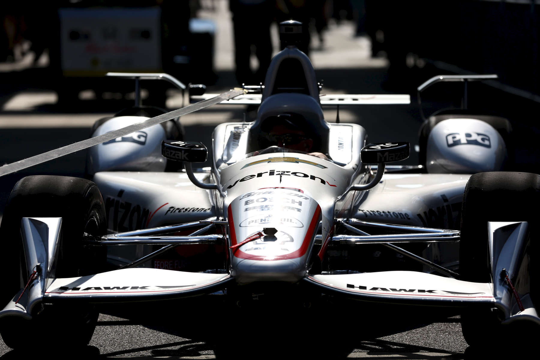 Juan Pablo Montoya's car is brought out before the start of the 100th running of the Indianapolis 500 May 29, 2016.