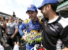 Alexander Rossi celebrates following his Indy 500 victory during the end of the 100th running of the Indianapolis 500 May 29, 2016.