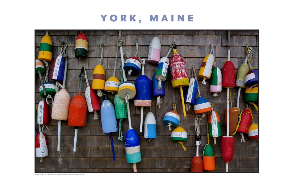 Digital Wall Decor, Maine Style: A typical scene along the oceanfront in York Harbor, Maine, as depicted in a product offered by Gallery Delany.