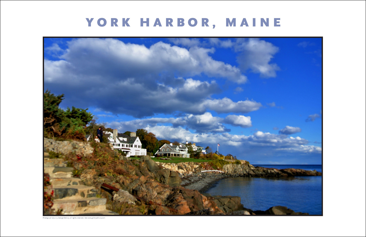 Digital Wall Decor: View along the waterfront of York, Maine, one of many examples of contemporary, digital wall art, digital photo art, travel art and related travel topics developed by Gallery Delany