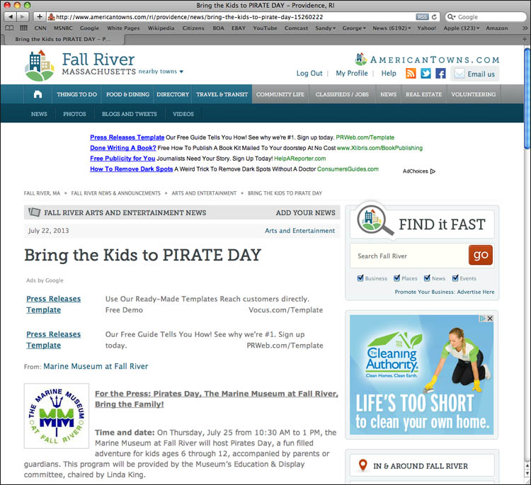 Delany develops new press materials for interactive release on American Towns, {quote}Bring the Kids to Pirate Day.{quote}