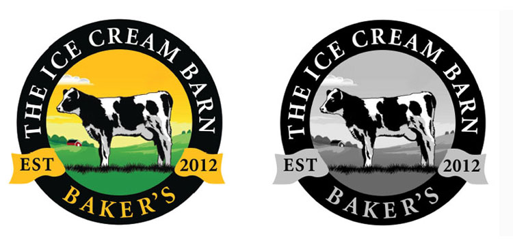 New Company: Conceptual sketch, new graphic identity for a new ice-cream barn.