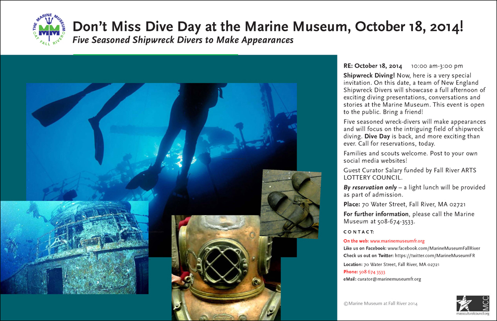 A promotional poster created to help generate interest in Dive Day at the Marine Museum at Fall River, Fall 2014