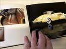 Antique Car Investment: For this antique auto investment company, we designed this prototype, leather bound book as part of a series. This is a coffee-table edition designed to highlight the history and restoration of one incredible car, the 1935 Auburn 851 Supercharged Boattail Speedster.
