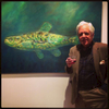 Snapshot Taken: Artist in front of oil-on-canvas, 'My Minnow.'  Event is held at Imago Foundation for the Arts.