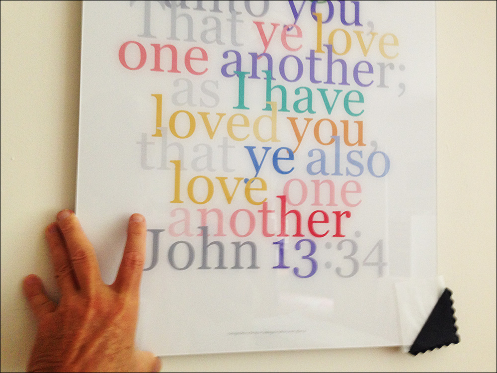 Inspirational Verse: John 13:34, contemporary graphic design featuring a lovely, popular verse, created as wall decor, sold as digital art prints-on-demand, this beauty is one from the unfolding series. Available on paper, canvas, behind acrylic and on aluminum.