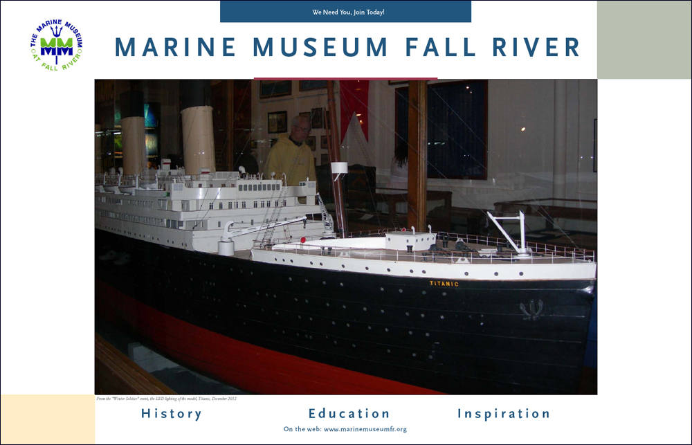A concept poster designed to advertise the extraordinary ship model collection that is in the stewardship of the Marine Museum at Fall River.