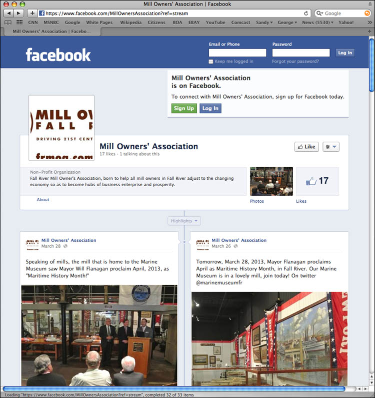 George Delany of aaaForay branding helps Mill Owners association develop strong Facebook presence, will help build mills of city, author believes.
