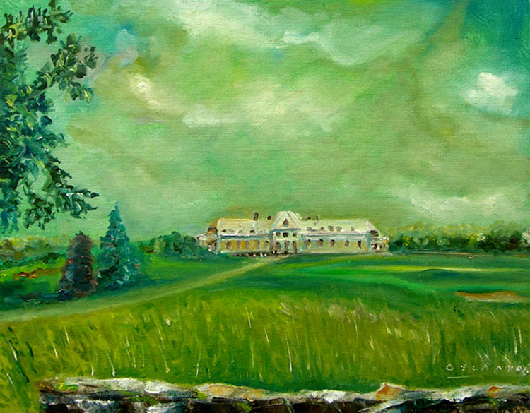 View of Golf Course in Late Summer: Newport, RI, oil on canvas, 24{quote} x 18{quote} by George Delany.