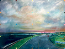 Large view of Ocean Drive, Newport, Rhode Island, at dusk, oil on canvas, 60{quote} x 48{quote}