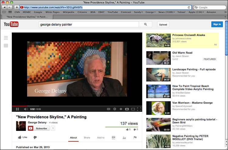 Fine Art on Web: George Delany's new fine art work on YouTube, oil on canvas, 8' x 4', {quote}New Providence Skyline.{quote}