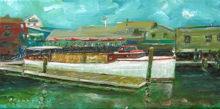 Last in a series of painted images, this one oil on canvas, of the Bowen's Wharf area of Newport harbor, by George Delany.