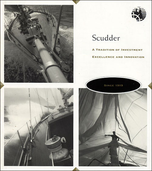A graphically illustrated history of Scudder, Steven & Clark, then, a leading financial services company in Boston, MA, designed by George Delany